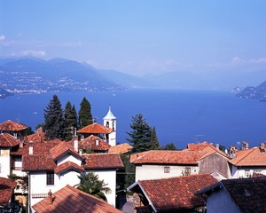 Lake Maggiore and Stresa town rooftops © Arena Photo UK