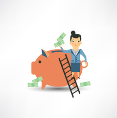 Accountant throws money into a pig
