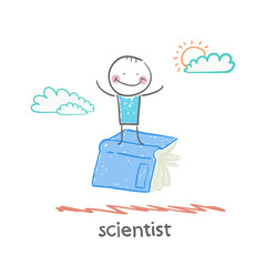scientist is flying on a book