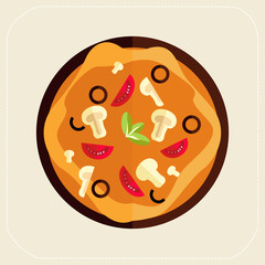Pizza icon flat