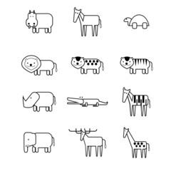 12 animal icon thin line style