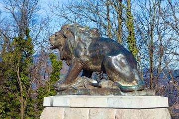 Sculpture of lion on Castle Hill in Graz