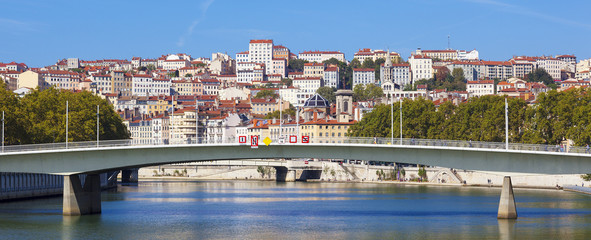 Panoramic view on Lyon and Saone rive