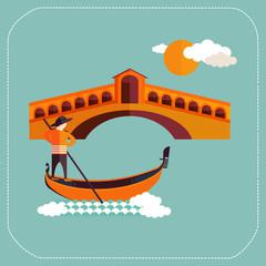 Venice, Rialto bridge with gondola in Italy