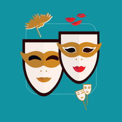 Carnival masks Venice Icon