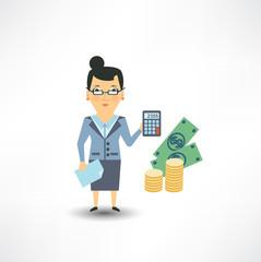 bank employee counts money