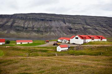 Typical Farm House at Icelandic Fjord Coast