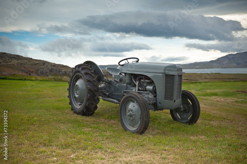 Poster Retro Tractor on the Iceland field