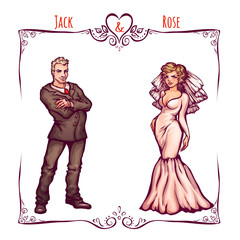 Illustration of elegant wedding invintantion with bride and