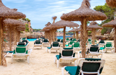 Plenty of sun loungers on the beach.