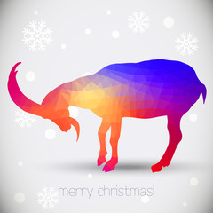 Christmas greeting cards with goat, symbol of year