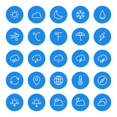 Thin line weather icons set for web and mobile apps