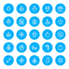 Thin line Christmas icons set for web and mobile apps