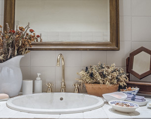 interior view classic bathroom with detail of washbasin