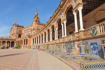 Seville - Plaza de Espana square and tiled 'Province Alcoves'