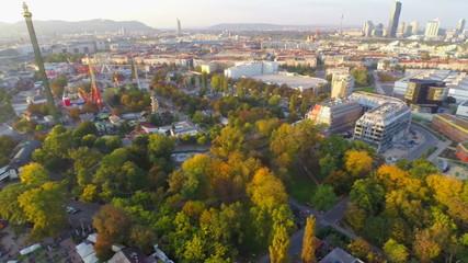 Vienna skyline aerial shot, city sky line dusk, park Prater