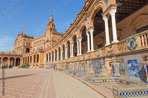 canvas print picture Seville - Plaza de Espana square and tiled 'Province Alcoves'