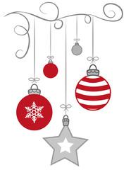 Weihnachtskugeln an Leine mit Sternen und Schneeflocken