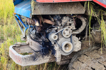 engine of combine harvester