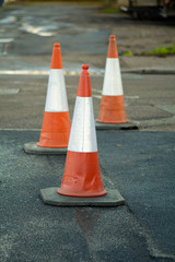 Traffic cones in road
