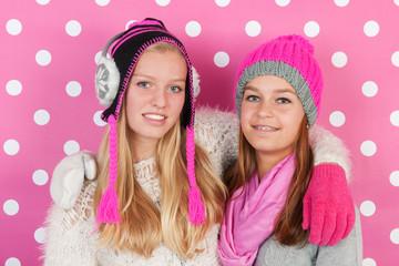 Portrait girlfriends in winter