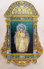 Seville - ceramic Madonna on church Santa Maria de las Nieves.