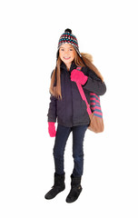 Young girl going to school.