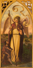 Seville -  The paint of archangel Raphael in San Pedro church
