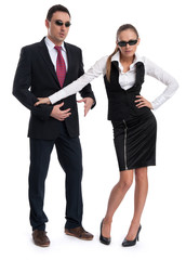 Business people wearing sunglasses