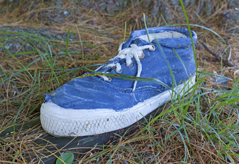 Old ankle high sneaker on grass.
