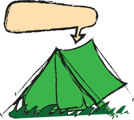 doodle camping tent and speech bubble