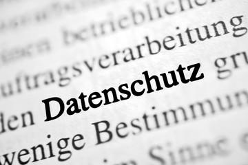Datenschutz - schwarz-weiß Text