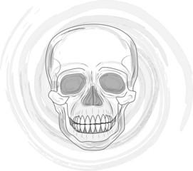 Illustration of Human Skull in front of spiral or vortex