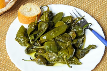 Padron peppers deep fried in olive oil tapas.