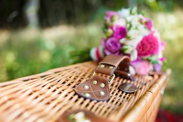 Bridal bouquet on a suitcase
