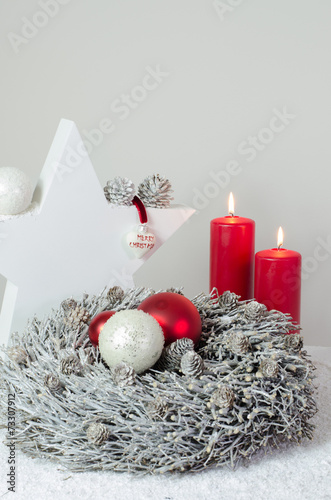 canvas print picture Luxus Advent Dekoration Herz und rote Kerzen