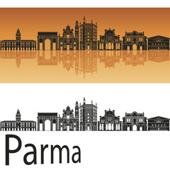 Parma skyline in orange background