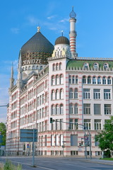 DRESDEN, GERMANY: The Yenidze building. Vertical photo.
