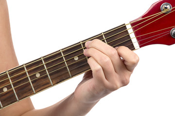 Photo of woman's fingers on guitar