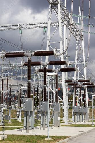 Staande foto Industrial geb. Electrical power substation.