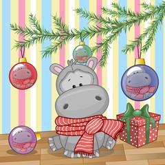Hippo under the tree