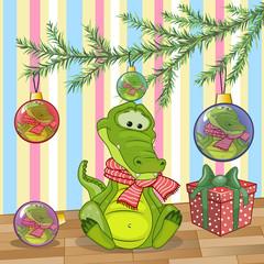 Crocodile under the tree
