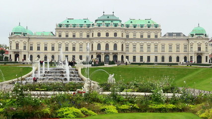 Vienna Royal Palace Belvedere fountain, tourist attraction place