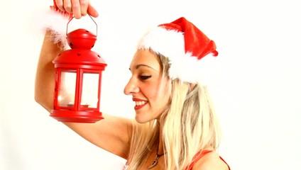 santa claus woman with a lantern