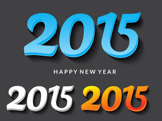 happy new year 2015 text vector illustration