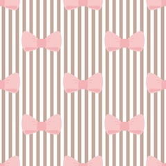 Tile vector pattern  pink bows brown white strips background