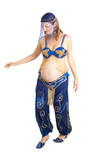 pregnant lass (9 months) practicing belly dancing for strength poster