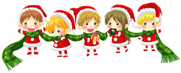 Cute Christmas elves tie together with a long scarf (with no bla