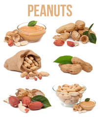 set of six compositions peanuts isolated