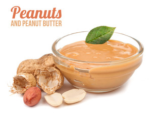 crude peanuts and peanut butter isolated
